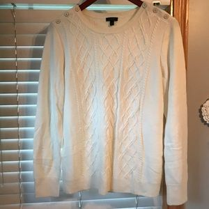 Talbots NWOT size M lambswool sweater cream pretty